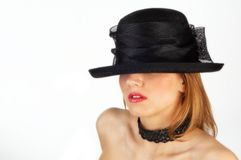 Lady in hat. With red lips white isolated Stock Image