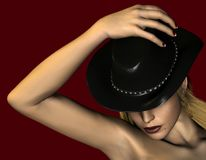 Lady with hat Stock Images