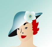 Lady with hat 2 of 3. Lady with red hair with hat blue gradient back Stock Photos