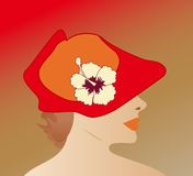 Lady with hat 3 of 3. Lady in red hat illustration 1 of a set of three designs Royalty Free Stock Photo