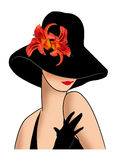 Lady in a hat with red lilies. Elegant lady in a black hat with red lilies Stock Photography