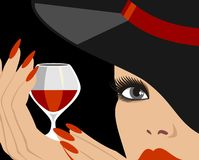 Lady in hat. With red wine stock illustration
