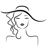 Lady in hat stylized portrait. Abstract beautiful dreamy young lady with closed eyes and in big hat stylized portrait, vector black outline stock illustration