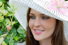 A lady with a hat Royalty Free Stock Photos
