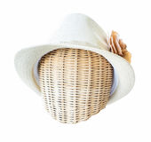 Lady hat on a wickerwork mannequin head isolated on white backgr Stock Images