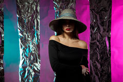 Lady in hat with wide brim Stock Photos