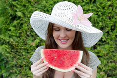A lady with a hat Royalty Free Stock Image