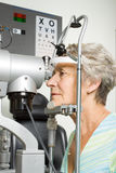 Lady having eye test examination Royalty Free Stock Images