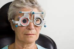 Lady having eye test examination Royalty Free Stock Photo