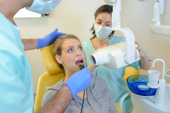 Lady having xray at dentists Royalty Free Stock Image