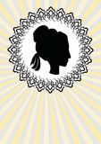 Lady head silhouette, black profile in ornate circle line frame Royalty Free Stock Image