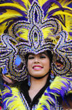 Lady with headdress. Picture of a Lady with purple headdress stock photo