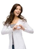 Lady heart gesturing Stock Photography