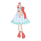 Lady hen illustration. Illustration of a beautiful chicken in a dress with a bow Stock Images