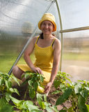 Lady in her garden Stock Photos