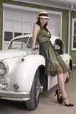 Lady and her jag Royalty Free Stock Images