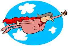 Lady hero flying in the clouds Stock Photos