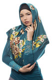 Lady in Hijab Being Worried of Failure Stock Photo