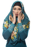 Lady in Hijab Feeling Scared Royalty Free Stock Photography