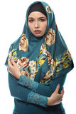 Lady in Hijab Looking Depressed Royalty Free Stock Photography