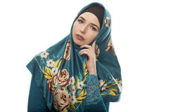 Lady in Hijab Looking Worried and Contemplating Stock Images