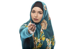 Lady in Hijab Pointing Forward Royalty Free Stock Photo