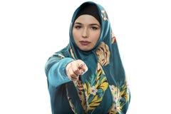 Lady in Hijab Pointing Forward Royalty Free Stock Photos