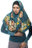 Lady in Hijab Stomach Pain Royalty Free Stock Photography