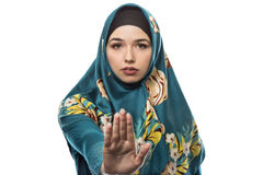 Lady in Hijab Stop Gesture Royalty Free Stock Images