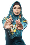 Lady in Hijab Stop Gesture Stock Photos