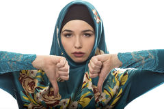 Lady in Hijab Thumbs Down Royalty Free Stock Photos