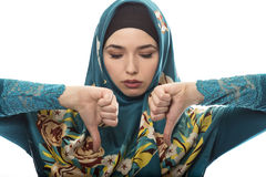 Lady in Hijab Thumbs Down Stock Photography