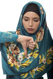 Lady in Hijab Thumbs Down Royalty Free Stock Photo