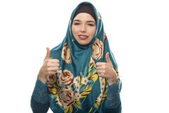Lady in Hijab Thumbs Up Stock Photography