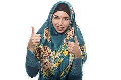 Lady in Hijab Thumbs Up Stock Photos