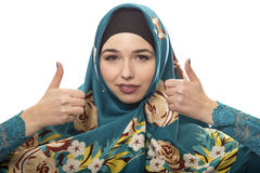 Lady in Hijab Thumbs Up Royalty Free Stock Photos