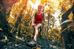 Lady hiker in the forest Stock Photography