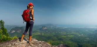 Lady hiker on the mountain royalty free stock images