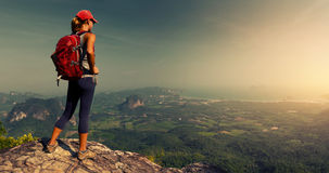 Lady hiker on the mountain Stock Photos