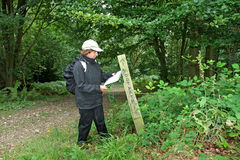 Free Lady Hiker Reading A Map On A Footpath Royalty Free Stock Photos - 6028378