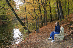 Lady Hiker Resting Royalty Free Stock Photos