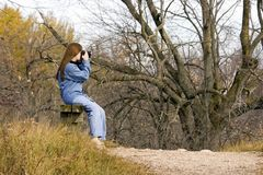 Lady Hiker Resting Royalty Free Stock Images