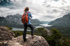 Lady hiker royalty free stock photo