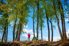 Lady hiker. Young lady standing by the tent and looking to the trees royalty free stock photo