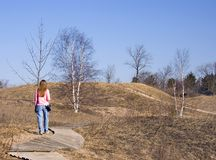 Lady Hiking A Nature Trail Stock Photos