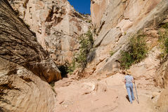 Lady Hiking Slot Canyon Royalty Free Stock Images