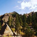 a lady hiking the trail at Eldorado canyons royalty free stock image