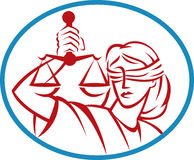 Lady hold weigh scales  justice. Illustration of a Lady holding up scales of justice set inside an oval Royalty Free Stock Images