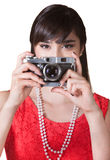 Lady Holding a Camera Royalty Free Stock Photo