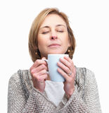 Lady holding a cup of coffee  isolated over w Royalty Free Stock Image